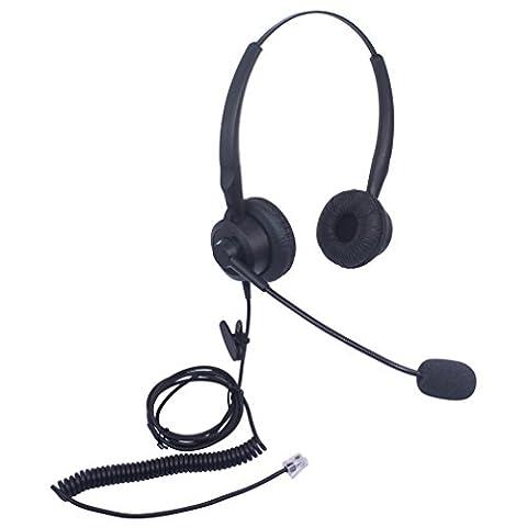 Xintronics Casque Téléphone Fixe Binaural avec Micro Anti-bruit, Oreillette de Centre d'appel pour Yealink SIP T19P T20P T21P T22P T26P T28P T32G T41P T38G T42G T46G T48G Avaya 1608 9608G(X20G1)