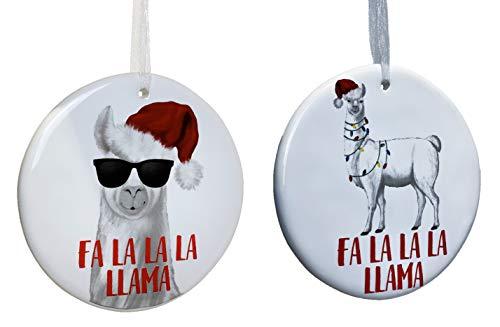 Fa La Llama Hängeornamente aus Keramik, 2 Stück