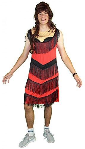 Foxxeo Lustiges Charleston Kostüm für Herren zum Junggesellenabschied Männer Kleid JGA 20er Jahre, Größe: L (Miss World Kostüm)