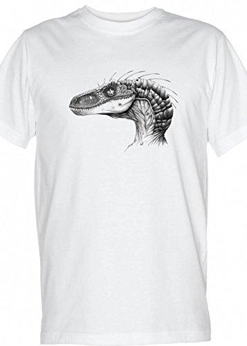 Original Retro Mens white Shirt - Raptor sketch drawing dinosaur Jurassic period theme park Mens XXLarge