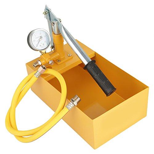 Test Pumpe, 2.5Mpa 25KG Manuelle Durable Hydraulische Wasserdruck Test Pumpe Pipeline Tester Tool mit großem Zifferblatt für eine Vielzahl von Druckbehältern, Rohren usw. (Gelb)