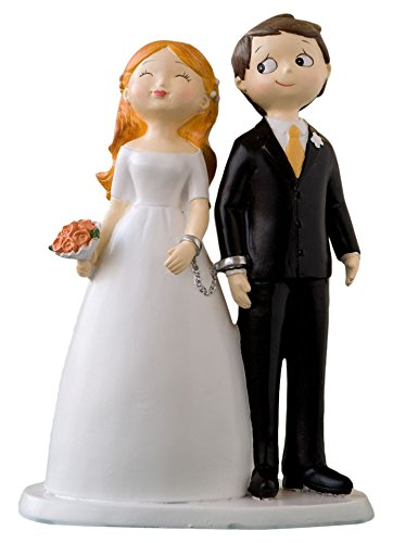 Mopec Y835 - Pastel Figure Bride and Groom handcuffed, 21 cm
