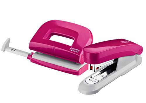 Novus Schreibtisch Set (Heftgerät E 15 mit Locher E 210, inkl. 1000 Heftklammern No. 10) pink