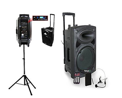 Ibiza PORT15VHF-BT + Supporto dell'altoparlante porta Impianto audio portatile cassa attiva (800 Watt, ingressi USB SD MP3 con funzione recording, 2 microfoni, batteria integrata, telecomando), nero