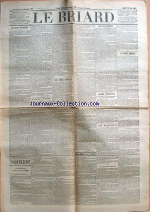 BRIARD (LE) [No 63] du 22/08/1903 - LES OEUVRES POST-SCOLAIRES PAR A. AULARD - NATIONALISME - PATRIOTISME PAR LOUIS BRAUD - LES DEUX ARMEES PAR DELPECH - DANS NOS REGIMENTS - AFFAIRE D'ESPIONNAGE - NOS MAGISTRATS - LES CONSEILS GENERAUX - LA NOUVELLE TENUE DE L'INFANTERIE. par Collectif