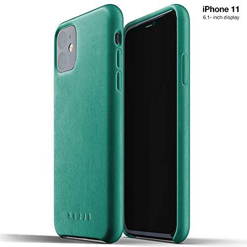 Mujjo Custodia Apple iPhone 11 | Vera Pelle Effetto Invecchiato Naturale, rialzata di 1 mm su Schermo, Copertina Super Sottile (Verde Alpino)