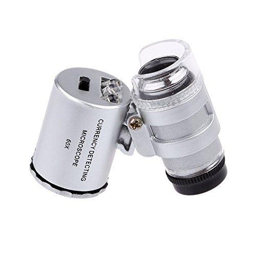 LED beleuchtet tragbar 60x Juweliere Lupe Lupe–mit LED & UV-Leuchten Lupe Eye Loop Ständer–Best für Schmuck Identifizieren von Typ, Diamanten, Münzen, Miniaturen, Gravuren, Markierungen (Pocket-münze 20)