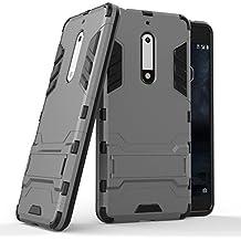 Custodia per Nokia 5, Lifeepro [Stand Function] Morbida Silicone + Plastica Rugged Hybrid Combo Body Armor Ultra Leggera Sottile Shockproof Anti-Graffio Protezione Completa Phone Case per Nokia 5(Grigio)
