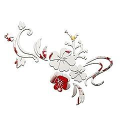 Idea Regalo - Adesivo specchio fiori WINOMO 3D adesivo da parete a forma di fiori per decorazione (Argento)