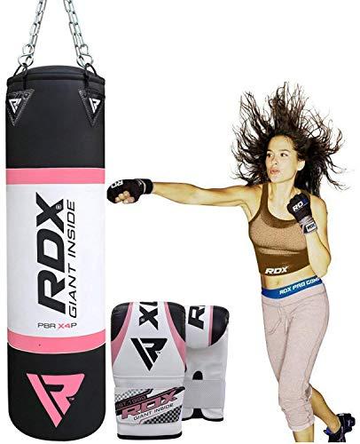 RDX Damen Boxsack Set Gefüllt Kickboxen MMA Muay Thai Boxen mit Stahlkette Training Handschuhe Kampfsport Schwer Frauen Punchingsack 4FT Punching Bag (MEHRWEG)