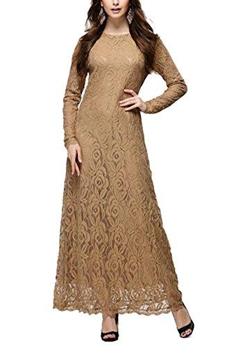 columbustore Damen Spitze 2Schicht Formelle Maxi Kleid Muslim Abaya Gr. Medium, Braun