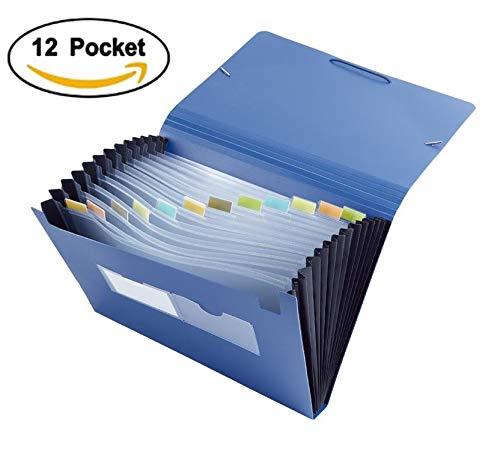 Trieur Valisette Trieur Papier Format A4 Accordéon Classeur Porte Documents 12 Compartiments (33.3*23.3*3.1CM Bleu)