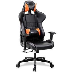 SONGMICS Bürostuhl Gaming Stuhl Computer Spiel Stuhl Bürostuhl Racer, Wippfunktion, Verstellbare Armlehnen, ergonomisch, Lendenkissen, Schwarz-Orange RCG32J