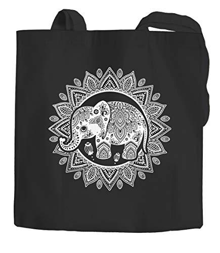 Jutebeutel Elefant Mandala Boho Bohamian Ethno Tribal Ornament Baumwolltasche Stoffbeutel Einkaufsbeutel Autiga® schwarz 2 lange Henkel