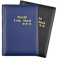 Dokpav Album Monedas Coleccion Monedas, 2 Pack, 240 Bolsillos(1 Azul Oscuro + 1 Negro)