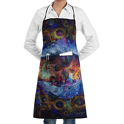 Psychedelic Lady Kostüm - Psychedelic Skeleton Art Schürze Lace Unisex Mens Womens Chef Adjustable Polyester Long Full Black Cooking Kitchen Schürzes Bib With Pockets For Restaurant Baking Crafting Gardening BBQ Grill