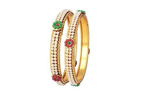 Be You ziemlich multicolor Perle traditionellen Look vergoldet Designer Armreif für Frauen