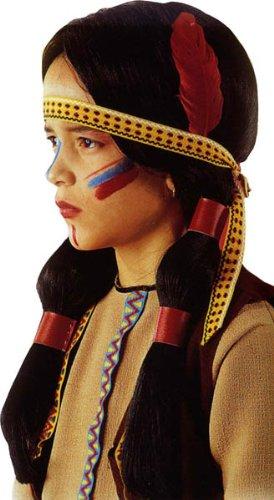 Générique pe912–Perücke indische Kinder mit Stirnband und Feder Flamme (Indischer Perücke Zopf)