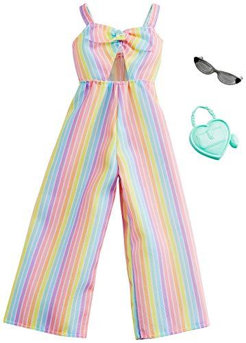 Barbie Mattel GHW76 - Mode, Kleidung Fashions Komplettes Outfit - Jumpsuit Rainbow und 2 Assecoires