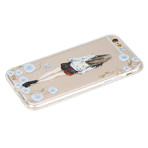 iPhone 6S Plus Hülle, iPhone 6 Plus Hülle, iPhone 6 / 6S Silikon 3D Transparent Case Hülle, SainCat Weiche Kratzfeste Silikon Girl-Serie Muster Hülle Schutzhülle mit Glitter Diamant TPU Bumper Soft Ge Blumen-Mädchen