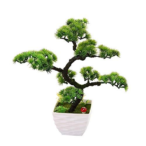 Japanischer Pinien Mit Schale,Bonsai Zeder,Home Hochzeit Dekoration,Hochwertiger Kunstbaum,Höhe ca. 20-24cm, 37