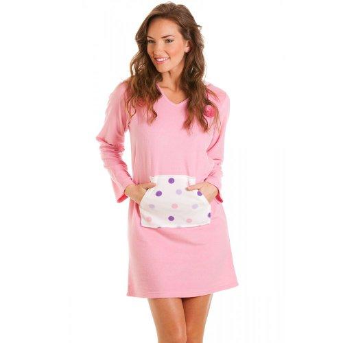 Camille camicia da notte da donna cappuccio maniche lunghe in pile - taglie 40-50 rosa 48/50