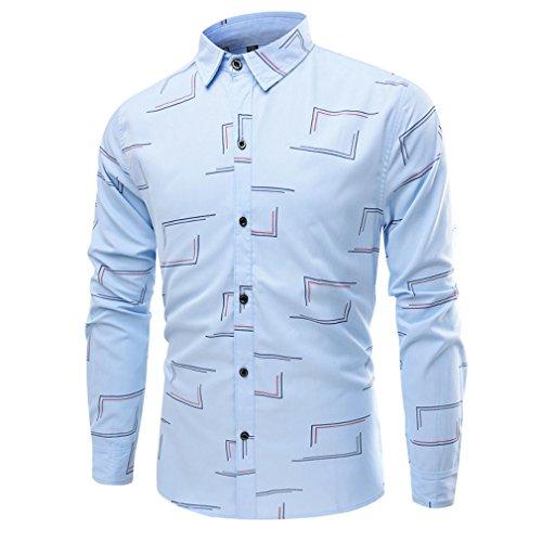 Honghu Homme Casual Manches Longues Chemise Slim Fit Bleu clair