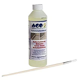 AGO® 1 x 500ml Mildew Remover with Brush I Anti Mildew Agent Mildew Mould Remover Mould Cleaner for Bathroom Wallpaper or Silicone Joints I Acts much stronger than conventional Spray Cleaners