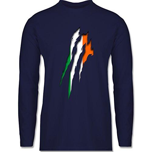 Shirtracer Länder - Irland Krallenspuren - Herren Langarmshirt Navy Blau