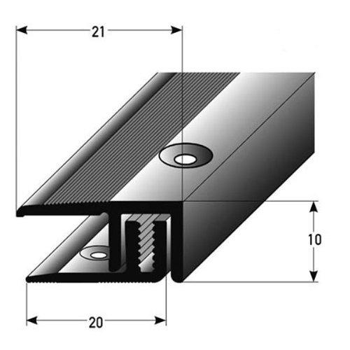 2 Meter (2 x 1 m) Abschlussprofil Laminat Parkett, Höhe 7 – 15 mm, 21 mm breit, 2-teilig, Alu eloxiert, gebohrt