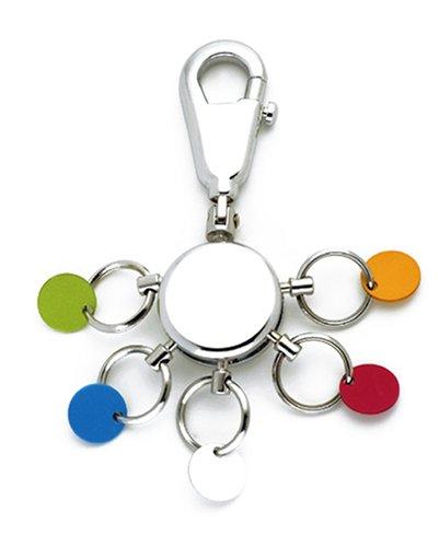 TROIKA PATENT SCHLÜSSELHALTER - KYR61/CH - rund, glänzend - Schlüsselanhänger - Karabinerhaken - 6 ausklinkbare Ringe - farbige Plättchen zur Zuordnung der Schlüssel - TROIKA-Original