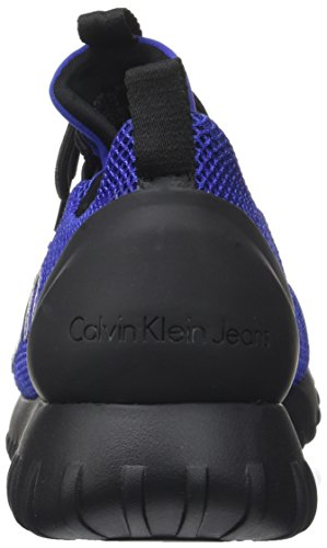 Calvin Klein Ron Mesh/Brushed Metal, Baskets Homme Multicolore (Grey-blue/silver)