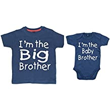 "Camisetas Edward Sinclair a juego, ""I´m the big brother""/""I'm the little brother"", color azul marino."