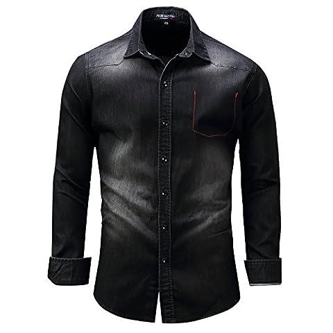 Yiye - Chemise casual - Avec boutons - À Carreaux - Col Chemise Classique - Homme - noir - Large