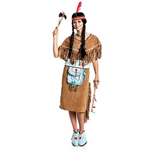 Kostümplanet® Indianer-Kostüm Damen Indianer-Kostüm sexy Squaw braun Größe 36/38 (Sexy Indianer-kostüme Für Frauen)