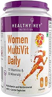 HealthyHey Nutrition MultiVitamin for Women - Multi-Vit Daily - 13 Vitamins & 10 Minerals - Vegan - 90 Cap