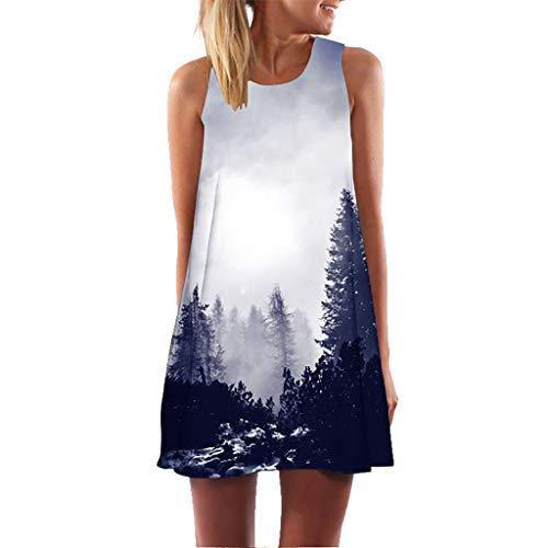 Zegeey Damen Sommerkleider äRmelloses Rundhals 3D Drucken LäSsige Lose Blumen Minikleid Strandkleider Festlich Geschenk(A2-Weiß,EU-40/CN-XL) -