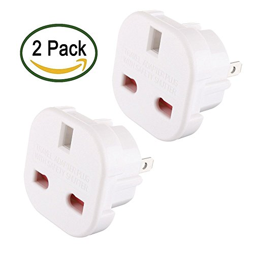 TEC UK - 2 x UK to US Travel Adaptor suitable for USA, Canada, Australia, Mexico, Thailand (Bulk Packaging)