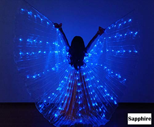 Z&X Kindertanz Fee Eröffnung Belly Dance LED Isis Wings mit Sticks Rods-Wings 300 LED Luminous Light Up Stage Performance Requisiten bestanden CE-Multicolor,Royalblue