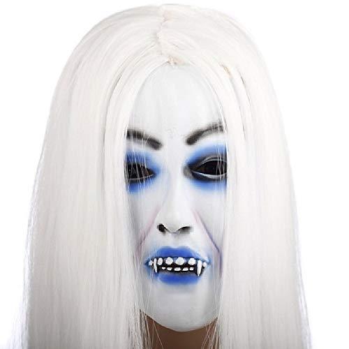 ChenYi Halloween Maske Full Head - Horrible Toothy White Langes Haar Ghost Face Latex Weiche Maske Halloween Party Prop - Gespenstische Geist Ghost Kostüm