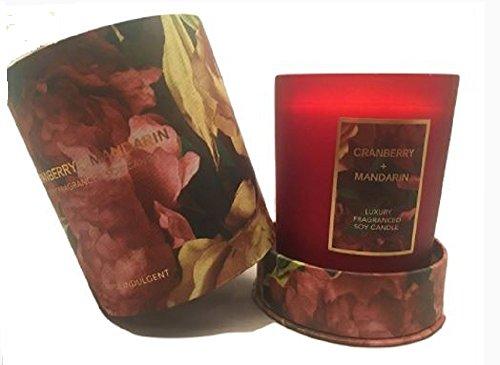 Luxus Soja Kerze mit Geschenk-Box, Cranberry und Mandarine Duft -