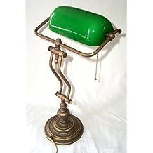 Lámpara pesada de banquero de alta calidad, latón bruñido con pantalla de vidrio soplado