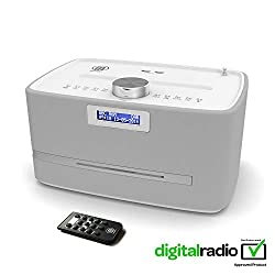 Majority Castle DAB/DAB+ Digital FM Radio Bluetooth Wireless CD Player Micro Compact Stereo Speaker System - Remote Control - Dual USB Charging (White)