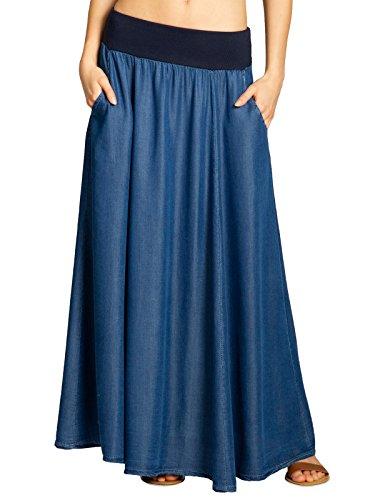 CASPAR RO022 Leichter Langer Damen Sommer Rock/Jeansrock, Farbe:dunkelblau;Größe:L/XL - Jeans-rock Lang