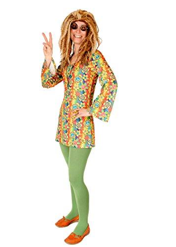 Hippie-Kostüm Bunt für Damen| Größe 36/38 | 1-teilige Flower Power Kostümierung für Karneval | 60er Jahre Verkleidung für Fasching | 70er Jahre Kleid Karnevalskostüm für Fastnacht & Mottopartys