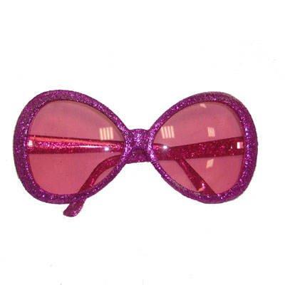 Discobrille, 70er Jahre Brille, Star-Brille, Glitter-Pink Big (Star Brille)