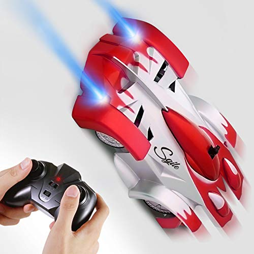 SGILE Macchina Telecomandata, RC Auto con 360 Rotazione, Due modalità Wall/Floor e 4 Luci a LED, Auto Racer, Regalo Giocattole per Bambini, Rosso