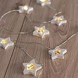 DecoKing 47040 10er LED-Lichterkette auf silbernem Draht Sterne warmes Weiß statisch batteriebetrieben LED-Girlande Wooden Star