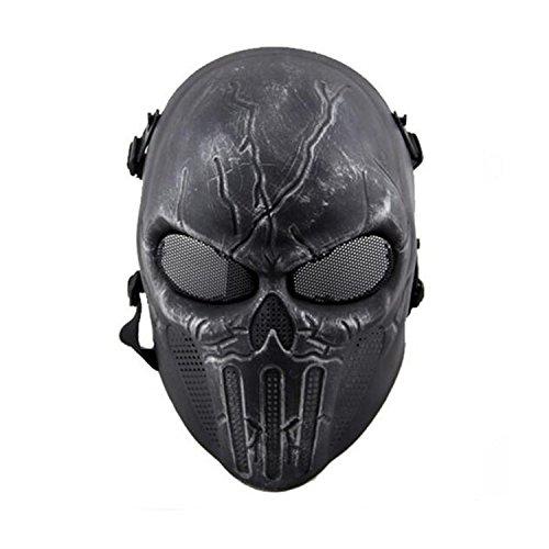 Kostüm Nebel Silber - haoyk Tactical Airsoft Full Face Skull Skelett Maske Paintball Spiel CS Krieg Spiel Maske, silber, schwarz