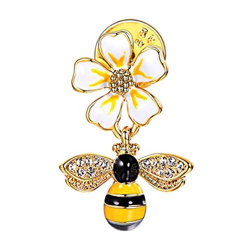FOCALOOK Damen Mädchen Brosche süße Biene & Blume Brosche Pin 18k vergoldet Anstecknadel Anzug Pullover Jacke Dekoration Accessoire